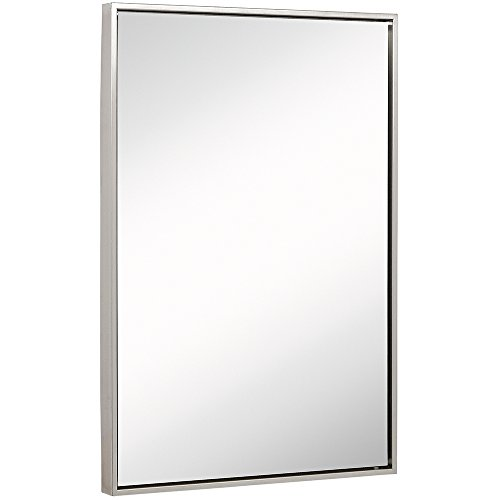 Clean Large Modern Brushed Nickel Frame Wall Mirror | Contemporary Premium Silver Backed Floating Glass | Vanity, Bedroom, or Bathroom | Mirrored Rectangle Hangs Horizontal or Vertical  (24