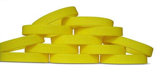 Novel Merk 12-Piece Kids Yellow Tennis Party Favor & School Carnival Prize Sports Silicone Wristband Bracelet