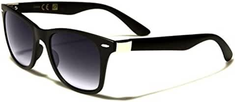 Black Retro Style Sunglasses with Silver Detail