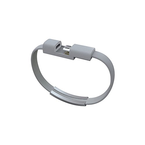 Dreams-Mall 5 Pin Micro USB Bracelet Cable with Charging and Data Sync for Samsung HTC Blackberry Smart Phones 21CM (Gray)