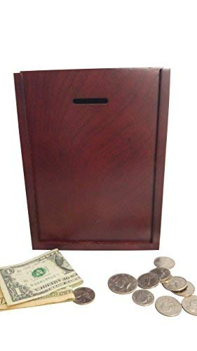 MCB Finished Natural Wood Charity Donation & Suggestion Box Ballot Box with side Pocket - With Hinged Lid and Safety Lock (Dark Mahogany)