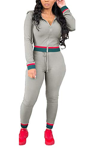 Women 2 Pieces Jumpsuits Sleeves Hoodie Tops Long Pants Tracksuits with Pockets Grey