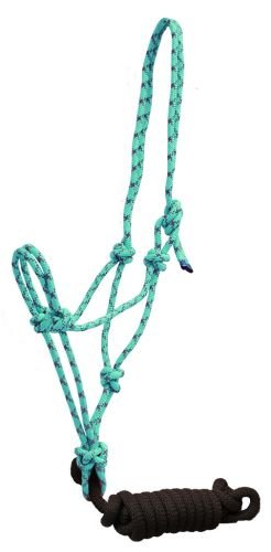 Cowboy Lead (Showman Reflective Nylon Cowboy Knot Rope Halter with Lead (Teal/Brown))