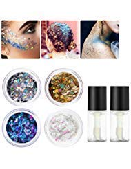 PIXNOR Body Glitter 4 Colors Holographic Chunky Glitter with 2pcs Long Lasting Fix Gel for Face, Body, Hair and -