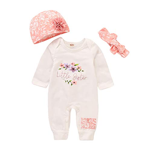 Infant Baby Girl 3Pcs Floral Outfit Long Sleeve Flower Romper Jumpsuit + Hat + Headband Set (White, 70/0-6 Months) by Unmega