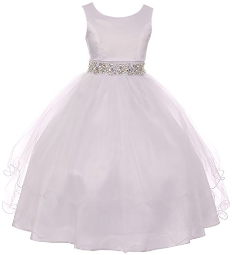 Big Girl Sleeveless Rhinestone Formal First Communion Flower Girl Dress White 16 MBK 374 -