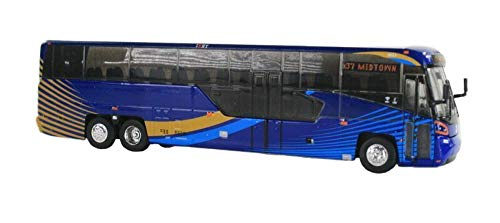 MCI D45 CRT LE Commuter Coach Transit Bus x37 Midtown (MTA New York City Transit) Blue 1/87 Diecast Model by Iconic Replicas 87-0136 ()