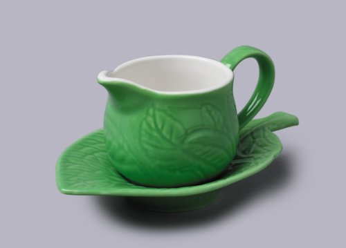 - CKS WM Bartleet and Sons Porcelain Mint Sauce Jug Boat and Saucer in Green T336