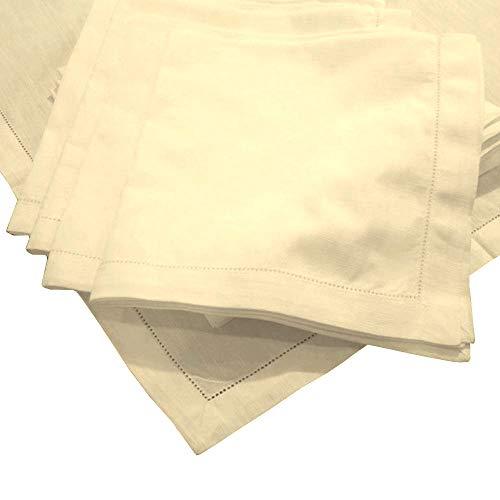 American Pillowcase Hemstitch Dinner Napkins Set of 12 - Ivory - One Dozen - 100% Egyptian Cotton - Elegant Cloth - Super Value Bulk 12 -