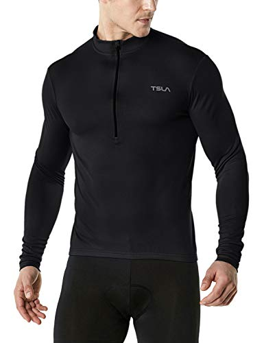 TSLA Men's Cycling Triathlon Jersey Bike Breathable Reflective Quick Dry Long Sleeve Biking Shirt, Cycle Long Sleeve(mct21) - Black, Medium