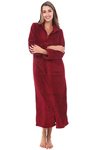 Alexander Del Rossa Women's Zip Up Fleece Robe, Warm Fitted Bathrobe, 1X Burgundy (A0307BRG1X)