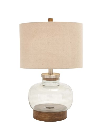 Deco 79 Metal Glass Table Lamp, 23-Inch, (Brown Glass Table Lamp)