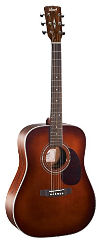 - Cort EARTH70BR Dreadnought Acoustic Guitar Solid Spruce Top, Brown
