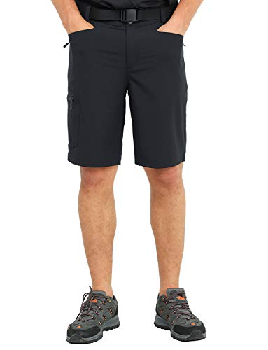 MIER Men's Stretchy Hiking Shorts Quick Dry Nylon Cargo Shorts with 5 Pockets, Water Resistant, Lightweight, Black, XXL