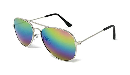 My Shades - Little Children's Kids Classic Retro Aviator Sunglasses Metal Frame Ages 2 to 5 (Silver Frame, Prism Multicolor)