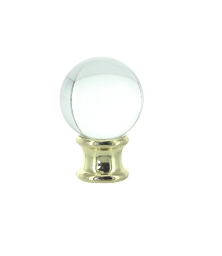 Upgradelights Clear Crystal Orb Finial with Polished Brass Base (Glass Finials)