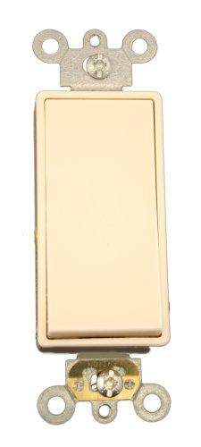 Leviton 5691-2T 15 Amp, 120/277 Volt, Decora Plus Rocker Single-Pole AC Quiet Switch, Commercial Grade, Light Almond ()