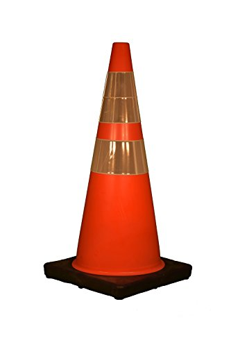 "Cortina Traffic Cone, Vinyl with Black Base and 6"" Upper/4"" Lower Reflective Collar 03-500-10, 28"" Height, Red/Orange"