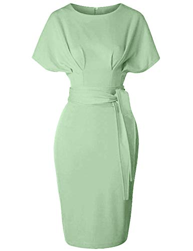GownTown Women's 50s 60s Vintage Sexy Fitted Office Pencil Dress Light Green