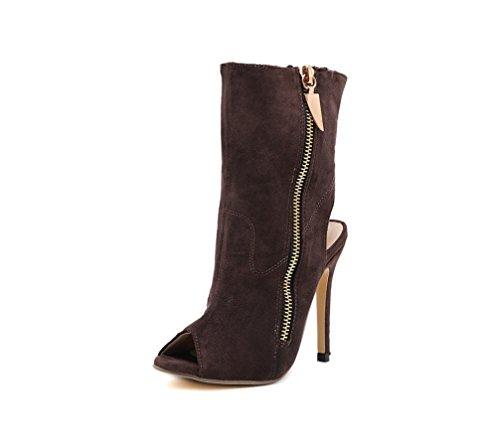 Y elegante Sandalias Mujer solid Side comfort Boots De Liangxie Beak Flip Fino lado Zipper Talón Fish Shoes Heel Tacón Súper Alto Zhhzz Marrón 0qxtSTw