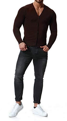 Sport Lightweight Cardigan Loisirs Coton Col Mélangé Elonglin Veste Tops Sweatshirts Homme En Tricoté De Gilet Brun Boutonné V P81nqAw4