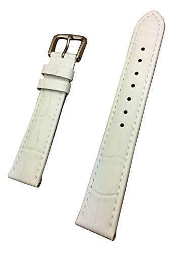 18mm White Genuine Leather Watch Band | Square Alligator Crocodile Grain, Lightly Padded Replacement Wrist Strap That Brings New Life to Any Watch (Mens Standard -