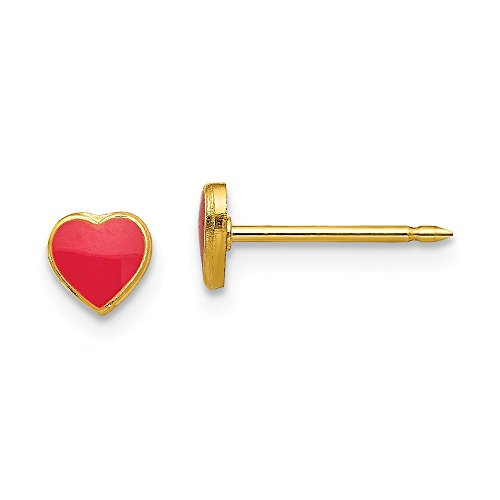 Mia Diamonds Inverness 24k Gold-Plated Plated Red Enamel Heart Earrings