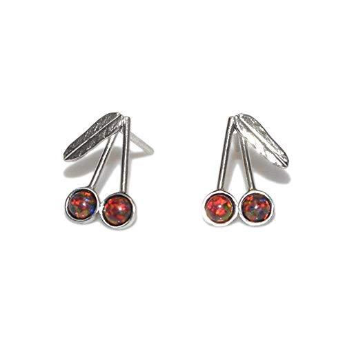 Silver Cherries 3mm Opals Post Earrings/Tiny Stud Earrings, Opal Earring ()