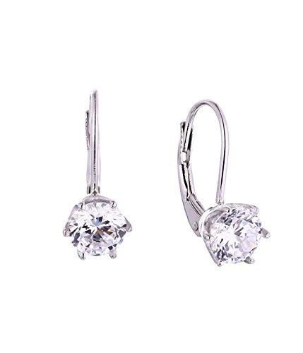 (JO WISDOM 14K White Gold Moissanite Leverback Dangling Drop Earrings)