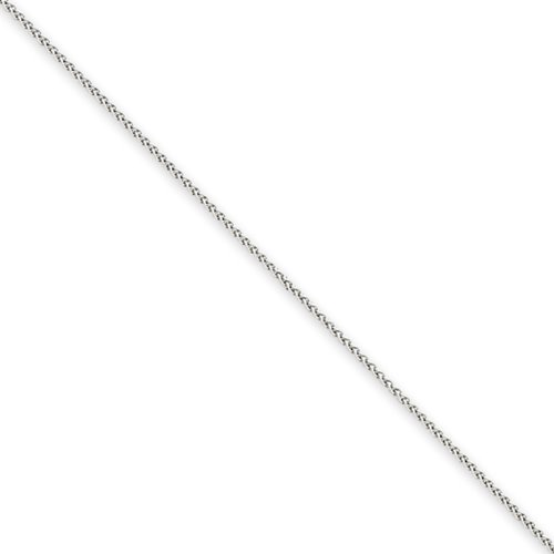 0.8mm, 14k White Gold, Solid Spiga Chain Necklace, 24 Inch