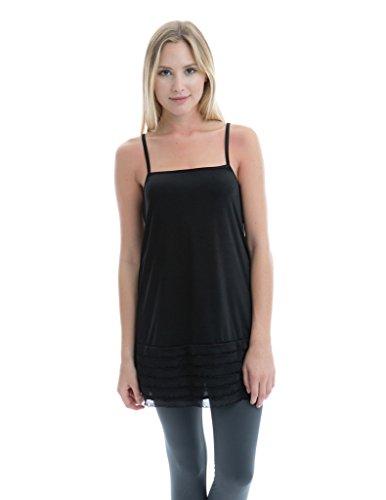 Kolouri Women's Plus-Size Ruffled Camisole 3X-Large Black