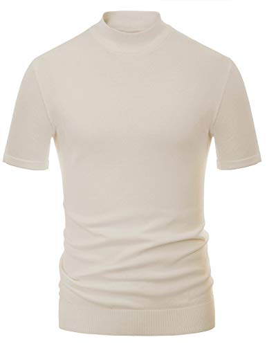 Mens Mock Turtleneck Shirt Short Sleeve Premium Lightweight Pullover Apricot, M