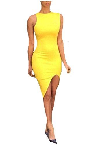 Sexy Split Sleeveless Sheath Women Coolred Dresses Club Cocktail Pencil Yellow E15Pqxn