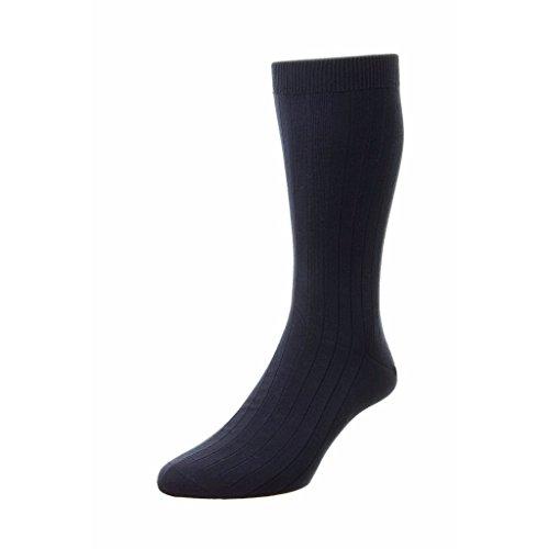 Pantherella Pembrey Sea Island Cotton Over Calf Mens Socks, Navy - Medium