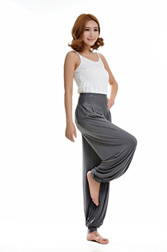 Leisial Pantalones de Yoga Algodón Suave Piernas Pantalones Anchos Sólido Color Elástico Pretina Pantalones Bombachos de Fitness Bailan Deportivo para Mujeres,Café S