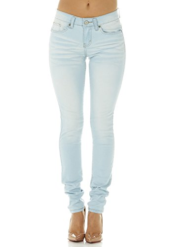 - Cover Girl Junior's Women Mid Rise Slim Fit Stretchy Skinny Jeans, Baby Blue, 9\10