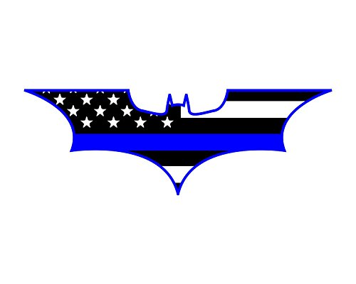 (Morale Tags Thin Blue Line Bat Batman Police Support Vinyl Decal Sticker for Cars Trucks Laptops etc. (Black and White) (Black and White))