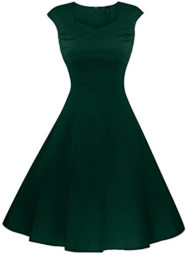AnniBlue Ladies Rockabilly 1930s Sweetheart Neckline Wedding A Line Dress Green L