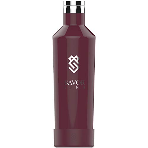 25oz Vacuum Insulated Wine Growler, Holds Entire Wine Bottle, Leak Proof Flask Design, Also Great as a Thermos, Water Bottle or Canteen For Travel or - Syrah Wine Malbec
