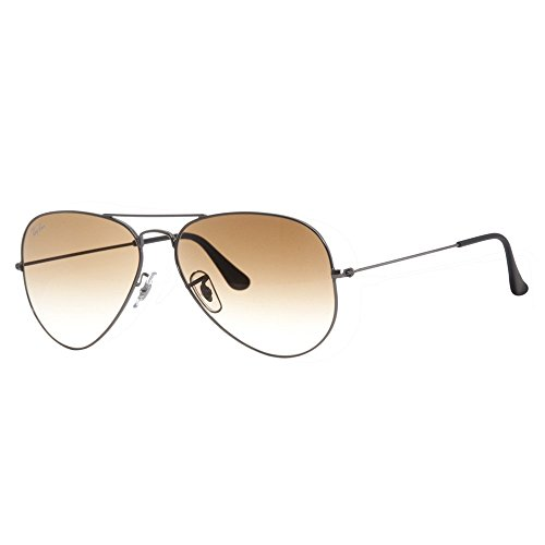 Ray-Ban 3025 Aviator Large Metal Non-Mirrored Non-Polarized Sunglasses, Gunmetal/Light Brown Gradient (004/51), - Ray Bans Mirrored Silver
