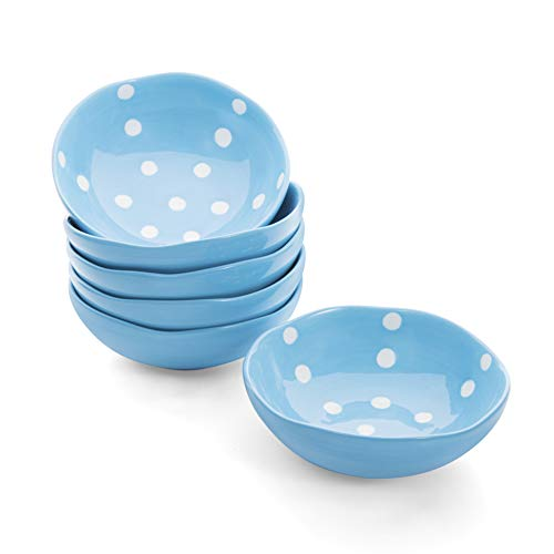 Hoomeet 4 oz Porcelain Ramekins, Dessert Bowls, Ice Cream Bowls, Snack Bowls, Dipping Bowls, Set of 6, Rocky Round Shape, Hand Painted Dots. (Blue) ()