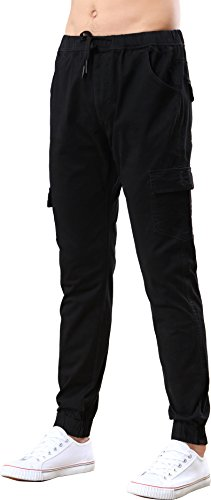 Benkii Men's Chino Jogger Pants - Casual Straight Tapered Trousers With Elastic Waist (38, Black)