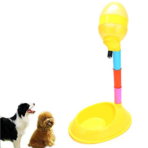 Pet Cat Dog Standing Water Drinking Fountain Automatic Food Dispenser Bottle Stand Feeder Bowl 600ML Height Adjustable