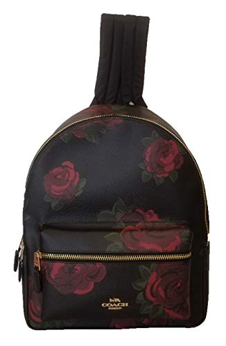 Coach Charlie Backpack in Coated Canvas with Jumbo Floral Print Black/Cherry Multi/Imitation Gold