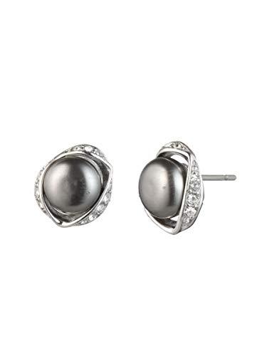 Carolee Women's Pearl Stud Earring, Silver/Gray