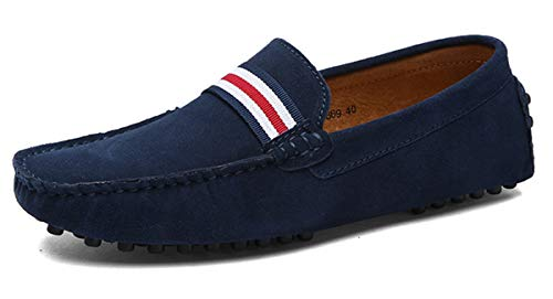 Eagsouni Men's Loafers Driving Boat Shoes Slip On Casual Moccasins Penny Suede Leather Flats Slippers Dress Shoes Fashion Deep Blue