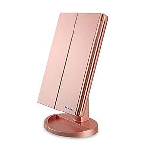Espejo Maquillaje con Luz,WEILY Triple Espejo Plegable Lámpara LED 180 Grado de Rotación Coméstico con Mostrador, Regalos Originales para Mujer (Oro) 31j6YIqBNCL