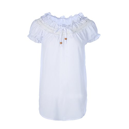 Courtes t Bateau Femme Nue T Blanc Bouse Casual Top paule Vertvie lastique Col Shirt Manches w1pfxnXq