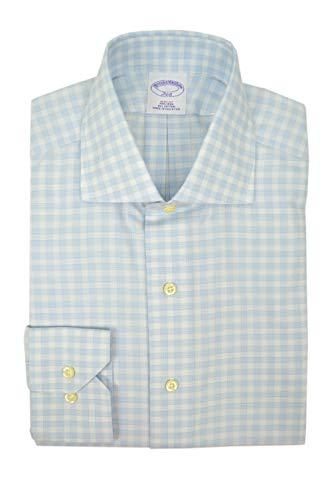 Brooks Brothers Mens Slim Fit Non Iron All Cotton Dress Shirt Light Blue White Plaid (15