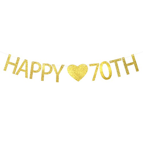 (Happy 70th Birthday Banner – 70th Wedding Anniversary Party Decorations Supplies Sign)
